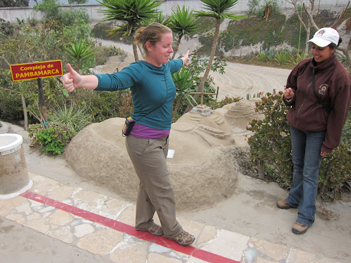 Heather walking a straight line across the equator with her eyes closed.