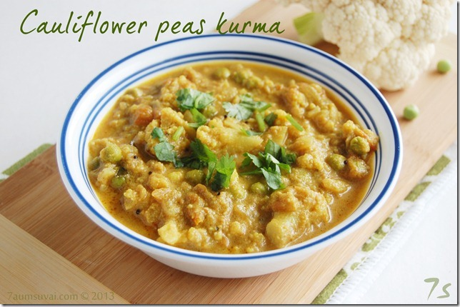 Cauliflower peas kurma