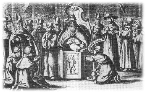 Grabado con la ceremonia de palpación testicular del papa.