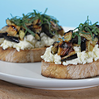 Bruschetta With Ricotta, Grilled Eggplant And Fresh Mint