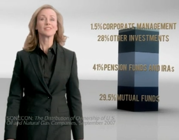Brooke Alexander in an American Petroleum Institute (API) advertisement for television. She asks, 'Do you own an oil company?' and describes how many funds are invested in oil production. API
