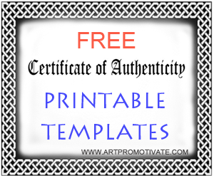 Free printable certificate of authentication templates free coa printable templates a certificate of authentication for artists yelopaper Choice Image