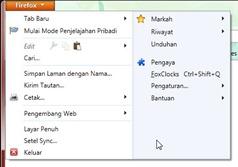 Tampilan Mozilla Firefox menggunakan Bahasa Indonesia