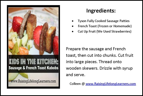 Sausage and French Toast Kabobs Recipe Card