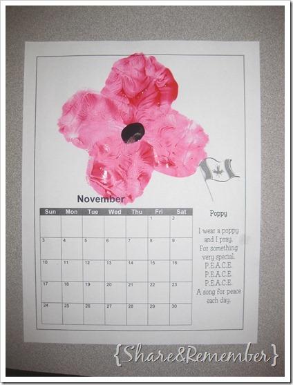Handprint calendar November poppy page