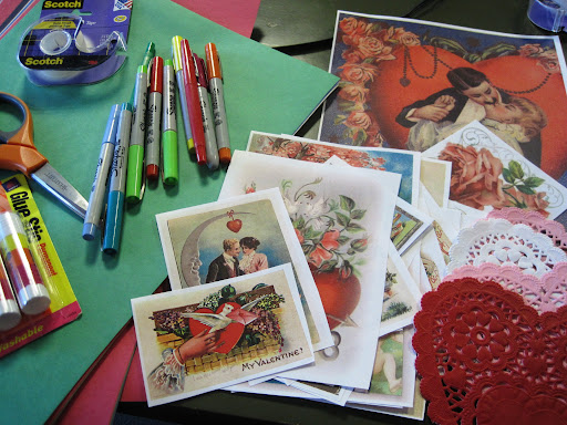 An array of crafting supplies used to make Crafting with Dudes: Victorian Valentines!