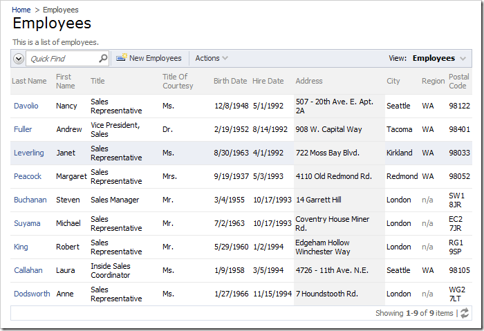 The Address column of the Employees grid view is now stylized with a gray background.
