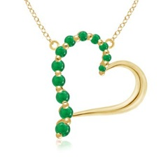 Round Emerald Heart Journey Pendant in 14K Yellow Gold