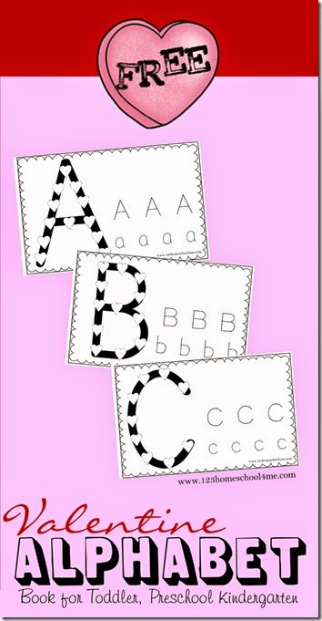 FREE Valentine Alphabet Book - What a fun way for toddler, preschool, and Kindergarten age kids to practice their alphabet letters! Includes a space to build the letters using conversation hearts and a spot to trace upper and lower case letters.
