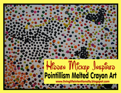 Disney Mickey Mouse Pointilism Melted Crayon Art