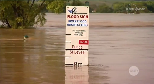 Record flood levels in Grafton, Australia at the Fry Street boat ramp, 29 January 2013. Authorities expect flood levels in Grafton to reach record heights after the Bureau of Meteorology issued major flood warnings for Clarence Valley. Photo: 10 News