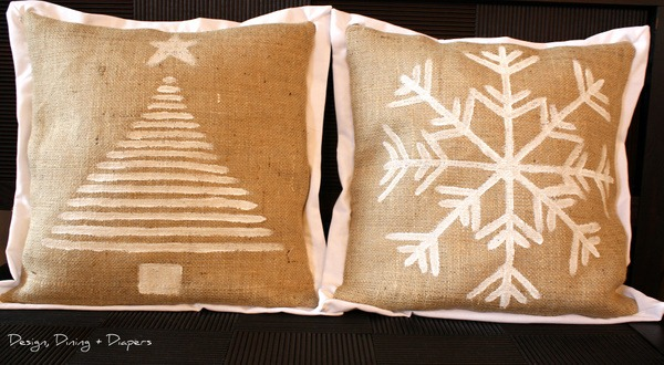 Holiday Burlap Pillows Tutorial