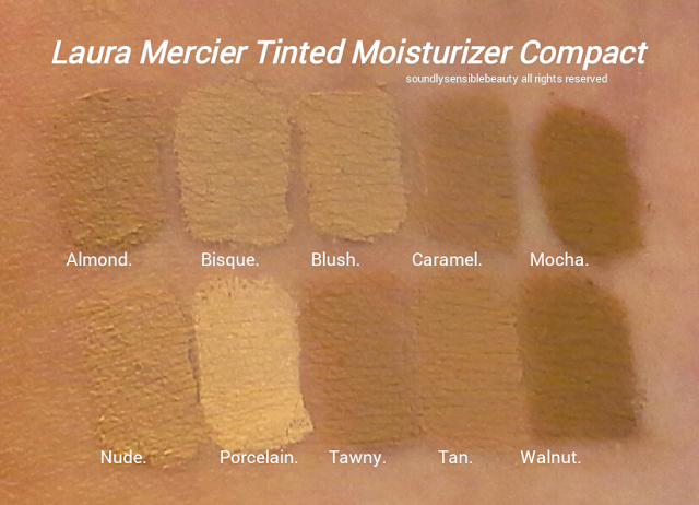 Laura Mercier Tinted Moisturizing Compact Cream SPF 25 Foundation Swatches of Shades