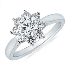 Round Diamond Flower Ring in 14k White Gold