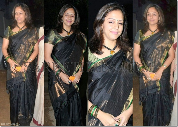 Jyothika_Black_Silk_Saree