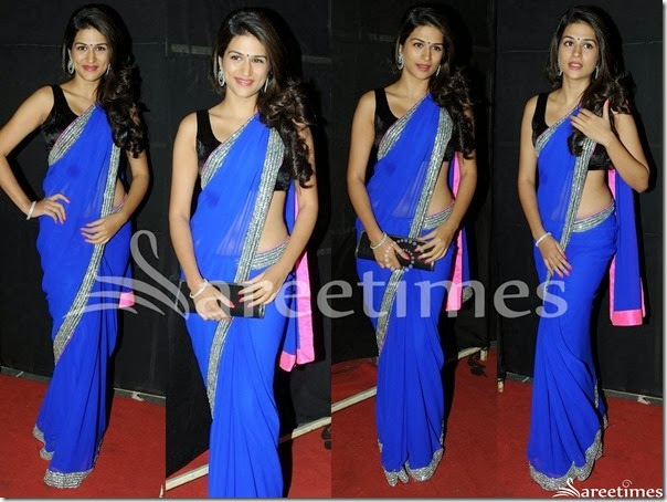 Shraddha_Das_Blue_Georgette_Saree