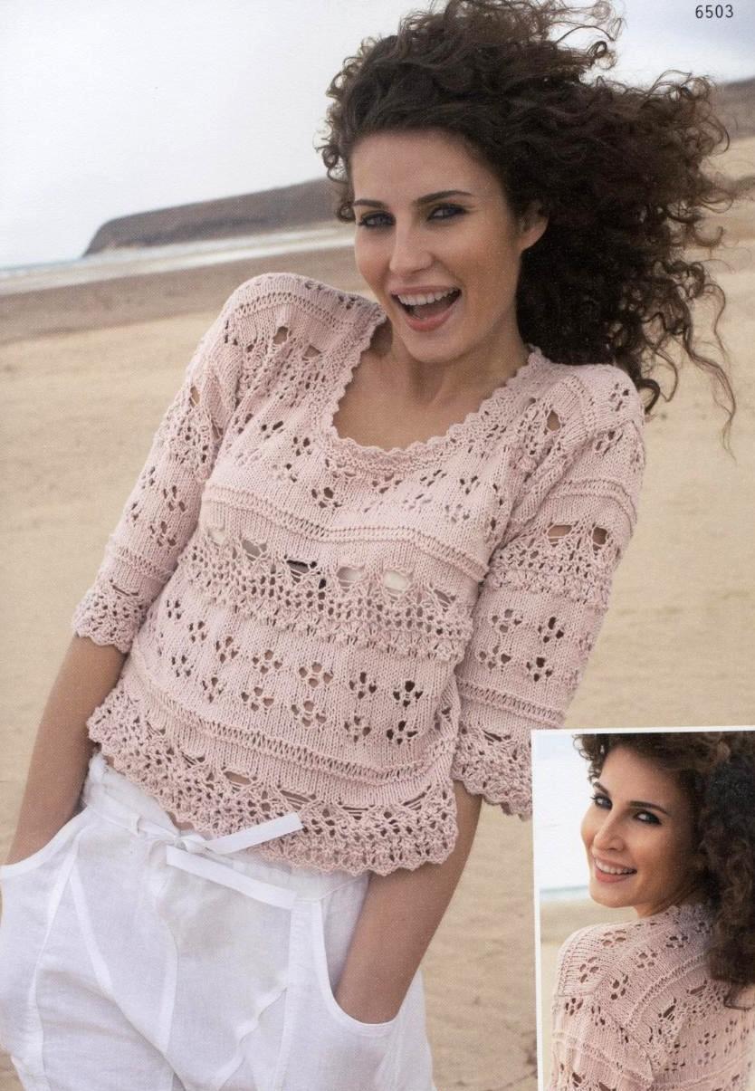 Пуловер с ажурными узорами 1