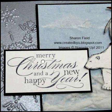 christmas_polar_Bear_Card, New_Faux_Flannel, technique, tutorial, texture, sharon_field, big_shot, herringbone, zoo_review, watercolor_Crayons, Delightful_dozen, Iceberg, penguin