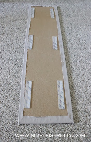 velcro back of tackboard in 6 places