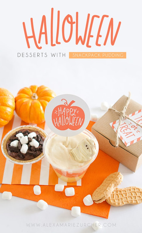 Halloween Treats, Snackpack Pudding cups, easy to make desserts