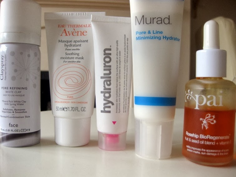 Clay-Spray,Avene-hydrating-mask,hyadraluron,Murad-Pore Line-Minimizing-Hydrator,Pai-Rosehip-BioRegenerate-face-oil