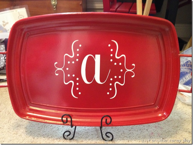 Tray personalized with vinyl.  Justanotherraneyday.blogspot.com