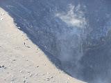 A hiker explores the inner rim of the deep eastern crater of Gunung Kaba (Dan Quinn, August 2013)