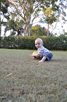 Playing soccer in the backyard