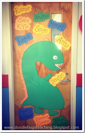 I made this dinosaur for our door.. but I strongly believe it looks more like a pregnant monster than a dinosaur. & Doodle Bugs Teaching first grade rocks!: Dinosaurs! Part 1