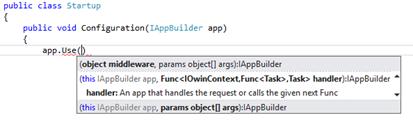 Sobrecargas del extensor IAppBuilder.Use