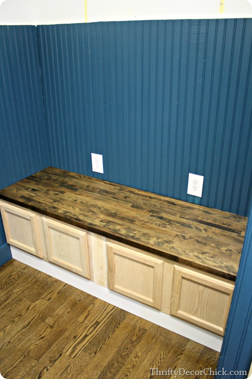 Mud room bench with kitchen cabinets