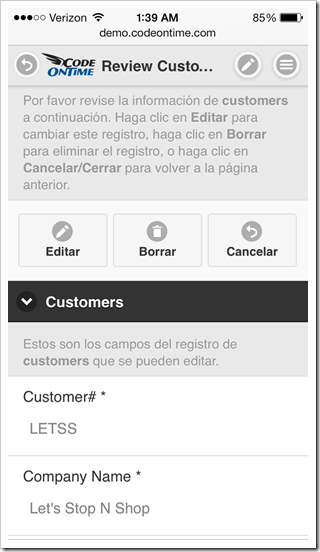 Form view of a localized mobile app created with Code On Time displayed in portrait orientation on Apple iPhone 5s.