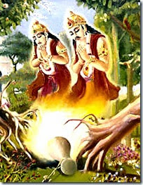 [Trees praying to Krishna]