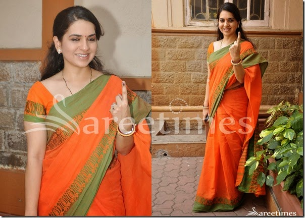 Shaina_NC_Orange_Sari