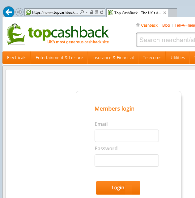 Dedicated login page loaded over HTTPS