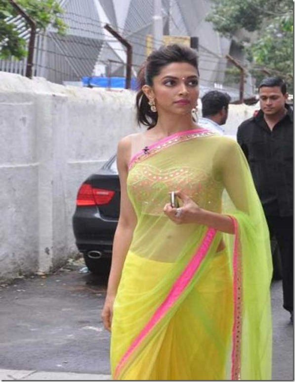 Deepika-Padukone-Hot-in-Lemon-Saree-during-Chennai-Express-Promo-3