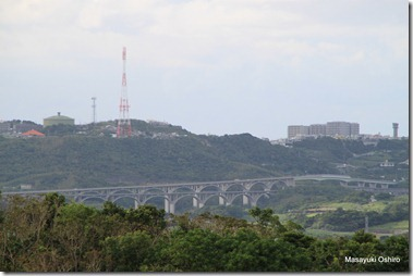高速道路のアーチ橋が見える