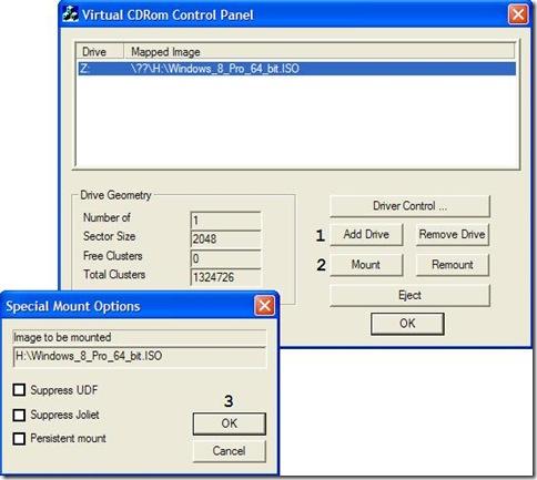 Montare ISO con Virtual CD-ROM Control Panel