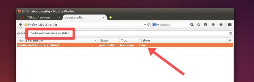 Firefox attivare mediasource