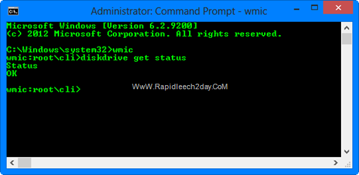 Command-Prompt Checking Hard drive S.M.A.R.T