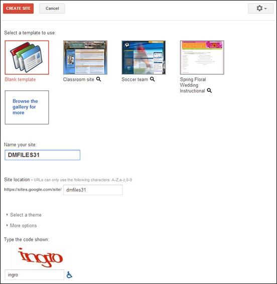 Membuat situs baru di Google Sites