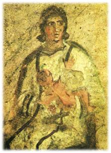 Pintura mural, catacumba de Santa Priscila, Roma, principios del siglo III