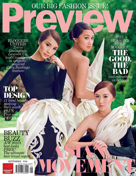 Tricia Gosingtian, Laureen Uy and Camille Co on Preview Sept 2012 cover