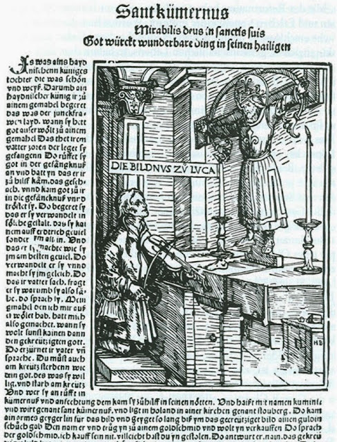 św. Kummernis - drzeworyt Hansa  Burgkmaira z  1507 r