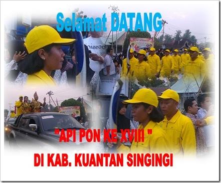Selamat Datang Api PON XVIII di Kabupaten Kuantan Singingi