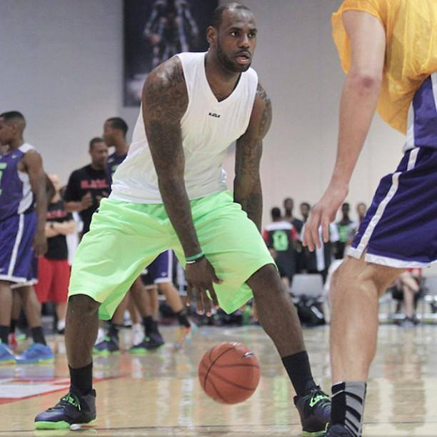 LBJ wears Purple Soldier 7 during LeBron James Skills Academy 2013 | NIKE LEBRON - LeBron James - News | Shoes | Basketball .