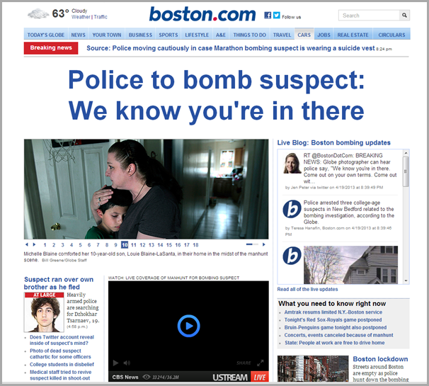 The home page of the Boston Globe site from Friday evening, April 19th 2013.