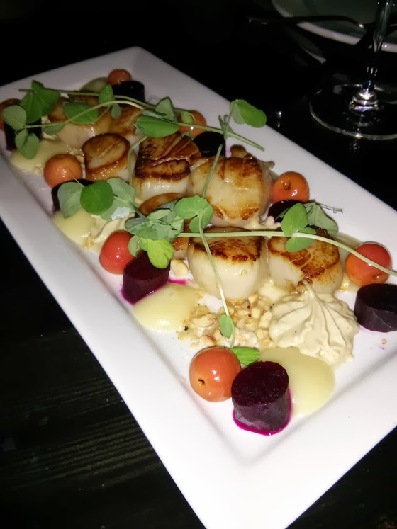 Local Lounge: Seared Scallops with Foie Gras Mousse, Truffled Apple Emulsion, Poached Apple, and Smoked Hazelnut Crumble