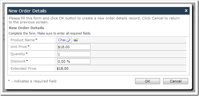New Order Details screen with a selected product and default values. The Extended Price has been calculated.