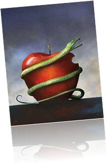 snake around apple